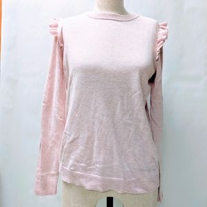 Pink crew neck sweater with ruffles